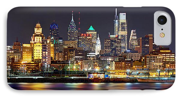 City Scenes iPhone 7 Case - Philadelphia Philly Skyline At Night From East Color by Jon Holiday