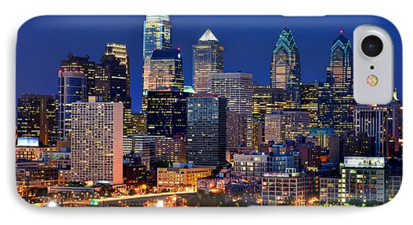 Philadelphia Skyline At Night IPhone 7 Case by Jon Holiday