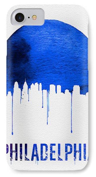 Philadelphia Skyline Blue IPhone Case by Naxart Studio