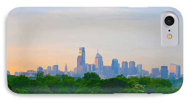 Philadelphia Skyline From West Lawn Of Fairmount Park Phone Case by Bill Cannon