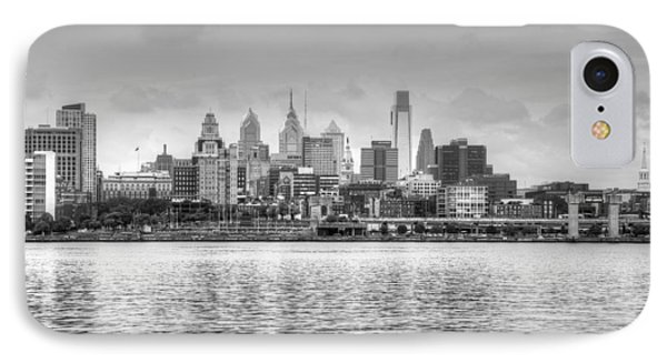Philadelphia Skyline In Black And White IPhone Case by Jennifer Ancker