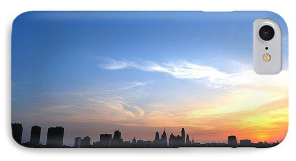 Philadelphia Skyline Low Horizon Sunset IPhone Case by Matt Harang