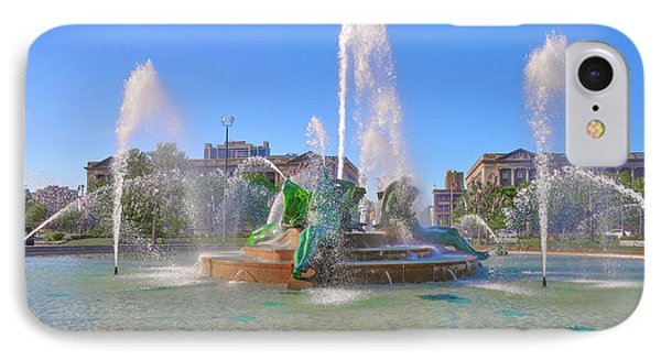 IPhone Case featuring the photograph Philadelphia - Swann Fountain At Logan Square by Bill Cannon