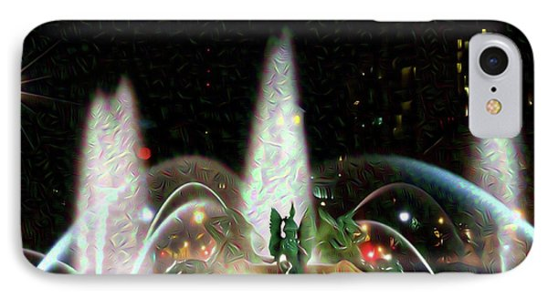Philadelphia - Swann Fountain - Night Water Color IPhone Case by Bill Cannon