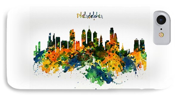 Philadelphia Watercolor Skyline IPhone Case by Marian Voicu