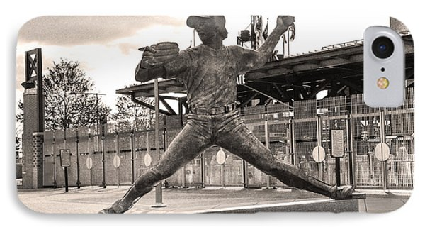 Phillies Hall Of Famer Steve Carlton In Sepia IPhone Case by Bill Cannon