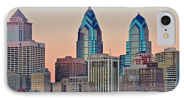 Philly At Sunset IPhone Case by Frozen in Time Fine Art Photography