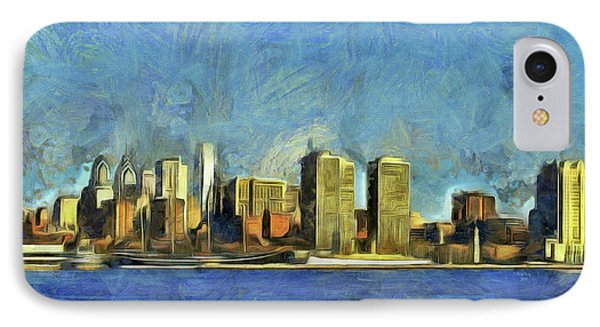 IPhone Case featuring the mixed media Philly Skyline by Trish Tritz
