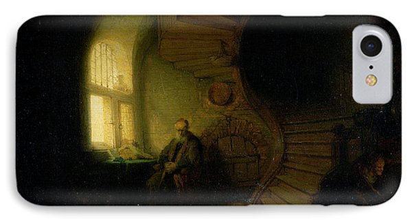 Philosopher In Meditation IPhone Case by Rembrandt