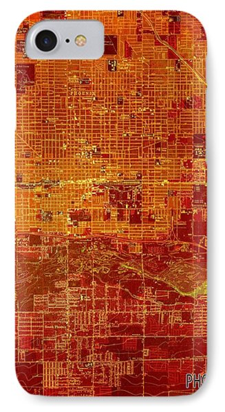 Phoenix Arizona 1952 Red And Orange Old Map IPhone Case by Pablo Franchi