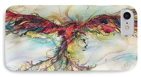 IPhone Case featuring the painting Phoenix Rainbow by Christy Freeman