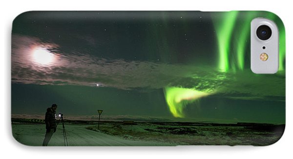 IPhone Case featuring the photograph Photographer Under The Northern Light by Dubi Roman