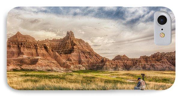 Photographer Waiting For The Badlands Light IPhone Case by Rikk Flohr