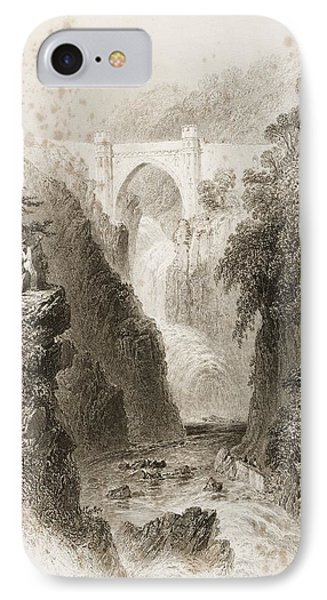 Phoul A Phuca Falls, Ireland.drawn By IPhone Case by Vintage Design Pics