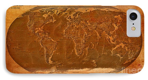 Physical Map Of The World Antique Style Phone Case by Theodora Brown