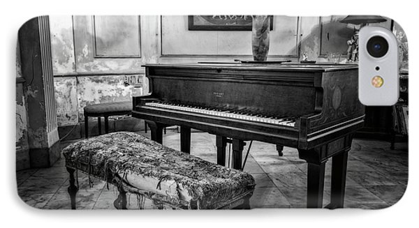 IPhone Case featuring the photograph Piano At Josie's House Bw by Joan Carroll