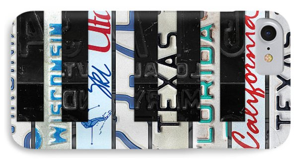 Piano Keys Black And White Recycled Vintage License Plate Art IPhone Case by Design Turnpike