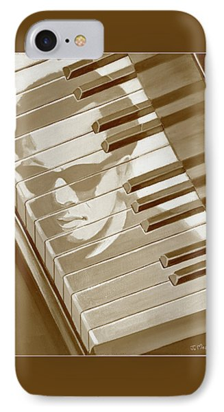 IPhone Case featuring the painting Piano Man In Sepia by J L Meadows