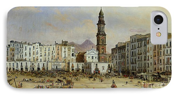Piazza Mazaniello In Naples Phone Case by Jean Auguste Bard