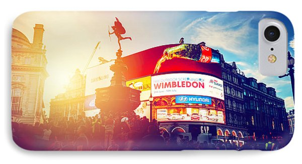 Piccadilly Circus Neon Ads Glow At Sunset, Young Night. London, Uk IPhone Case