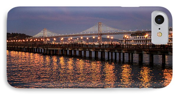 Pier 7 And Bay Bridge Lights At Sunset IPhone Case
