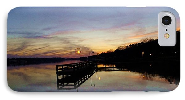 Pier Silhouetted In The Sunset On The Coosa River IPhone Case by Lori Kingston