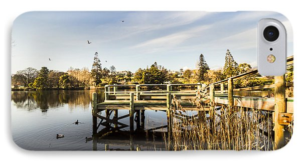 Piers And Peaceful Blue Waters IPhone Case by Jorgo Photography - Wall Art Gallery