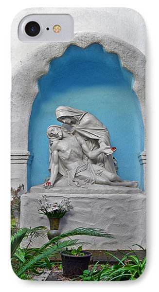 IPhone Case featuring the photograph Pieta Garden Mission Diego De Alcala by Christine Till