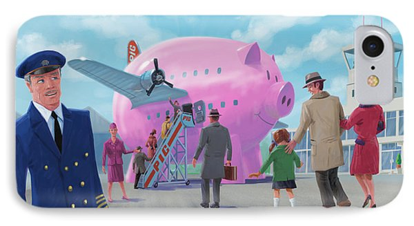 IPhone Case featuring the digital art Pig Airline Airport by Martin Davey