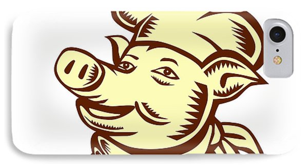 Pig Chef Cook Head Looking Up Woodcut IPhone Case by Aloysius Patrimonio