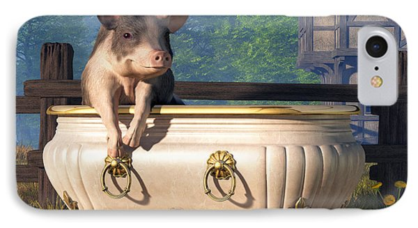 Pig In A Bathtub IPhone Case by Daniel Eskridge