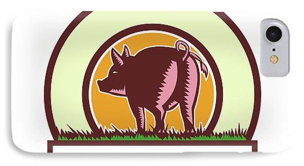 Pig Tail Rear Circle Woodcut IPhone Case by Aloysius Patrimonio
