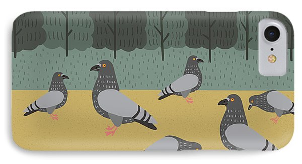 Pigeons Day Out IPhone Case by Nicole Wilson