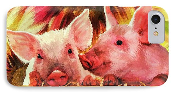 Piglet Playmates IPhone Case by Tina LeCour