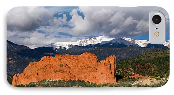 Pikes Peak And Garden Of The Gods Panoramic IPhone Case by Tim Reaves