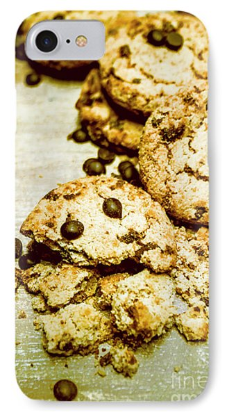 Pile Of Crumbled Chocolate Chip Cookies On Table IPhone Case