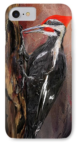 Pileated Woodpecker Art IPhone Case by Lourry Legarde