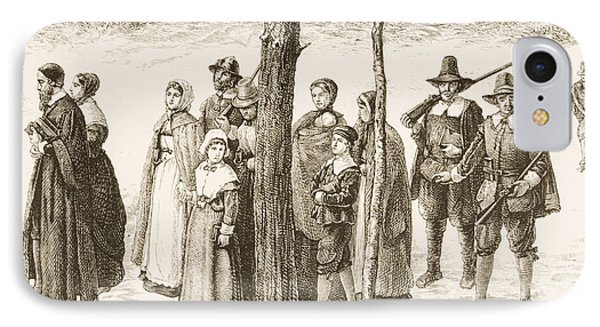 Pilgrim Fathers Going To Church IPhone Case by Reverend Samuel Manning