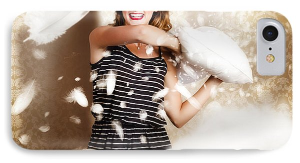 Pillow Fight Pinup IPhone Case by Jorgo Photography - Wall Art Gallery