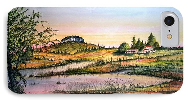 IPhone Case featuring the painting Pilot Mountain And Farm Ponds by Richard Benson