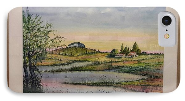 IPhone Case featuring the painting Pilot Mountain And Pond by Richard Benson