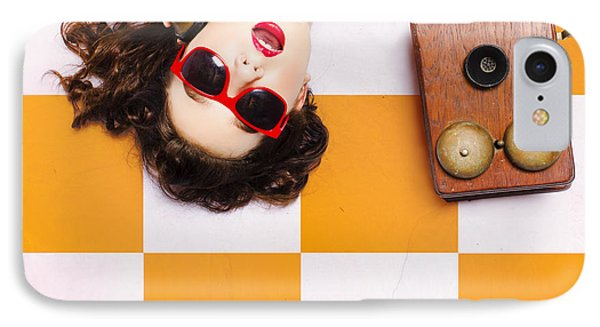 IPhone Case featuring the photograph Pin-up Beauty Decision Making On Old Phone by Jorgo Photography - Wall Art Gallery