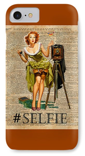 Pin Up Girl Making #selfie Vintage Dictionary Art IPhone Case by Jacob Kuch