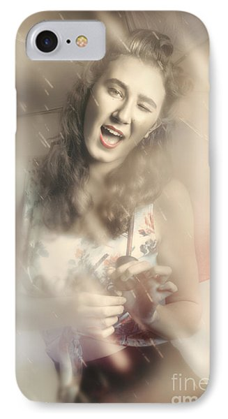 Pin-up Woman Dancing In A Shower Of Rain IPhone Case