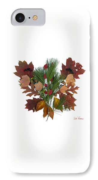 IPhone Case featuring the digital art Pine And Leaf Bouquet by Lise Winne