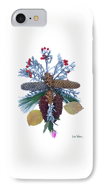 IPhone Case featuring the digital art Pine Cone Bouquet by Lise Winne