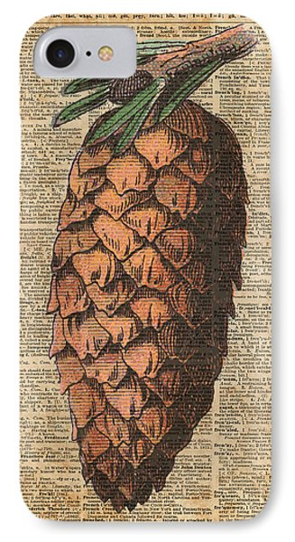 Pine Cone Vintage Dictionary Book Page Artwork  IPhone Case by Jacob Kuch