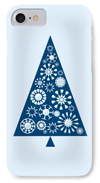 Pine Tree Snowflakes - Blue IPhone Case