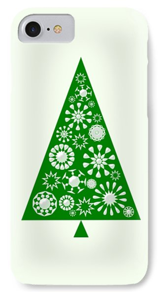 Pine Tree Snowflakes - Green IPhone Case by Anastasiya Malakhova