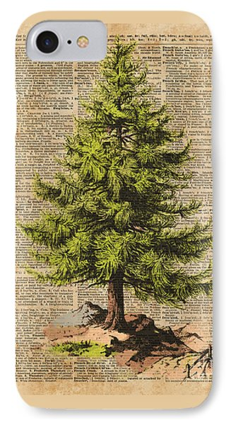 Pine Tree,cedar Tree,forest,nature Dictionary Art,christmas Tree IPhone Case by Jacob Kuch